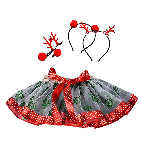 Kinder Weihnachten Tutu Kleid Sommerkleid Kostüme Karneval Fasching Ballettkleid Party Hochzeit Strampler Ballett Röcke Fancy Party Rock + Haarband Set ()