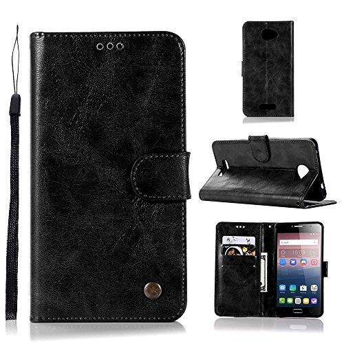 kelman Hülle für Alcatel One Touch Pop 4s Hülle Schutzhülle PU Leder + Soft Silikon TPU Innere Schale Brieftasche Flip Handyhülle - [JX06/Schwarz]
