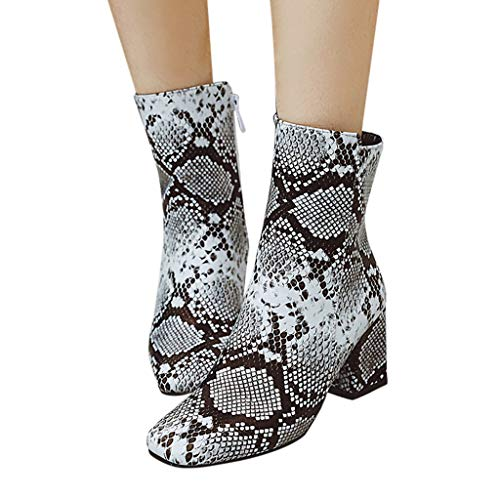 Iwähle)♥ Winter Nähte Farbe Chunky Heels Stiefel Frauen Schneeschuhe (Weiß, 36) -