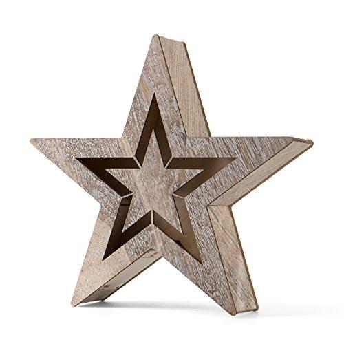 SnowEra LED Holzdekoration / Weihnachtsdekoration / Weihnachtsbeleuchtung mit 10 LED´s inkl. Batterien - Lichtfarbe: warm weiß | Form: Stern 1 - FSC 100 %