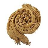 Gelb Soft Pure Cotton Crinkle Schal Long Plaid Fringe Plain Wesentlich Solid Scarf Wrap Frühling Männer Nner Frauen (Color : Gelb, Size : One Size)