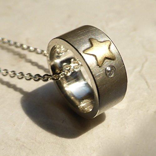 käte fraas Goldschmiedekunst Taufring 925er Silber mit 750er Goldstern, Brillant und Gravur auf der Innenseite. Handmade, Taufschmuck, Taufkette