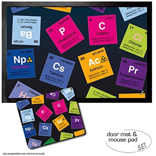 Set: 1 Fußmatte Türmatte (60x40 cm) + 1 Mauspad (23x19 cm) - Periodensystem Der Elemente, Kohlenstoff, Barium, Brom, Radium, In Englisch