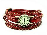 MULBA Vintage Style Leder Armband mit Bronze Nieten Damen Lederarmband Damenuhr W2243