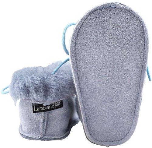 Lambland Babyschuhe, aus echter britischer Schafswolle, handgefertigt, für Kleinkinder von 0 bis 24Monaten geeignet, Pink / Blau / Burgundrot Blau