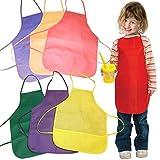 Los niños del artista Pintura delantales delantales con bolsillos para niños pintura, hornear y cocinar (6 piezas, amarillo)