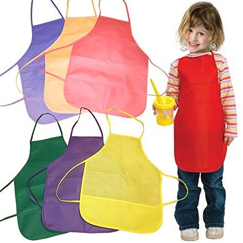 SWEDREAM Kinder Malerei Schürzen Malschürze Kinderschürze Künstler Malerei Schürzen Kinder Küchenschürze mit Taschen für Kinder Malen Backen Kochen, (6 Stück, Gelb)