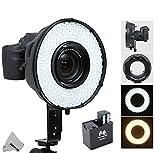 Fomito Portable LED Macro LED Ring Flash di luce DVR 240DF 3200K della 6500K per Canon Nikon Sony Pentax DSLR Camera + MV-AD1ricambio batteria scatola di Adattatore per Sony NP-F750, batterie AA immagine
