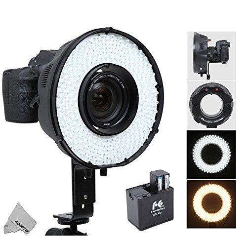 Fomito - Flash portatile a LED con macro anello DVR-240 DF 3200k-6500k per fotocamere Canon Nikon Sony Pentax DSLR + adattatore batteria MV-AD1 per Sony NP-F750, batterie AA