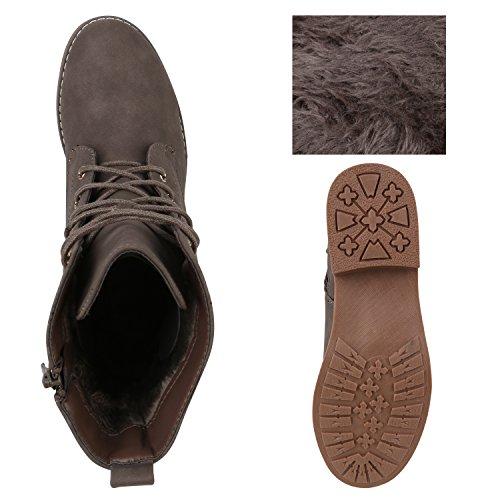 Stiefelparadies Damen Stiefeletten Worker Boots Spitze Stiefel Schuhe Flandell Khaki Amares