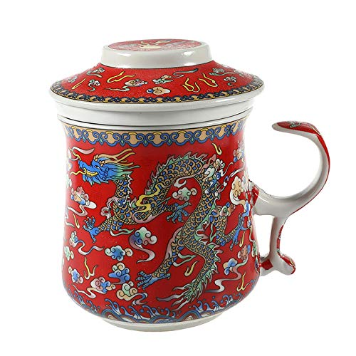 TISANIERE pour THE ou INFUSION - Motif Impérial - Dragons Chinois - Rouge dominant