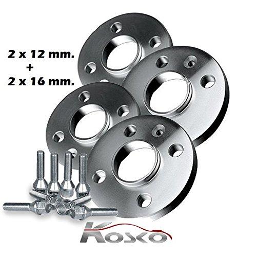 KOSKO Kit 4 DISTANZIALI Ruote 12+16 MM. 500 dal 2008 in Poi con BULLONI in Acciaio
