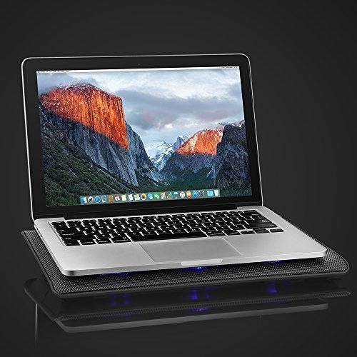 AVANTEK Laptop Khler 16 Zoll Notebook chiller Stnder Khlpad Khlmatte mit 6 Ventilatoren 2 USB Anschlssen blaue LED Licht verstellbare Ventilatorgeschwindigkeit Khlpads