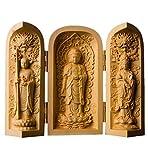 NBHUZEHUA Statue de Bouddha en Bois Petite Sculpture Portable Artwork Cadeaux Bouddhiste