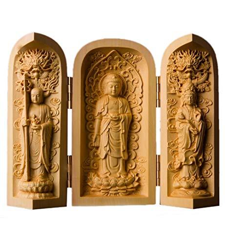 NBHUZEHUA - Estatua de Buda de Madera portátil