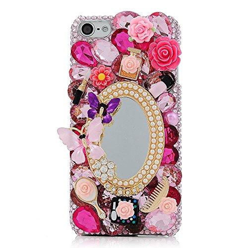 Spritech (TM) 3D handgemachte Mode Frauen Ipod Touch 6 Fall Luxuxdiamantentwurfs-Bling Make-up-Spiegel Make-up-Set Dekor klar Hart Caver iPod Touch 6