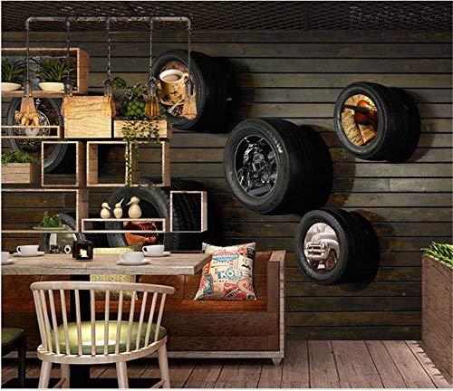 Muraon HD murale 3d carta da parati foto sfondo personalizzato dimensione murale soggiorno nostalgico auto pneumatici 3d pittura immagine divano TV sfondo carta da parati, 150x105 cm (59,1 per 41,3 in)