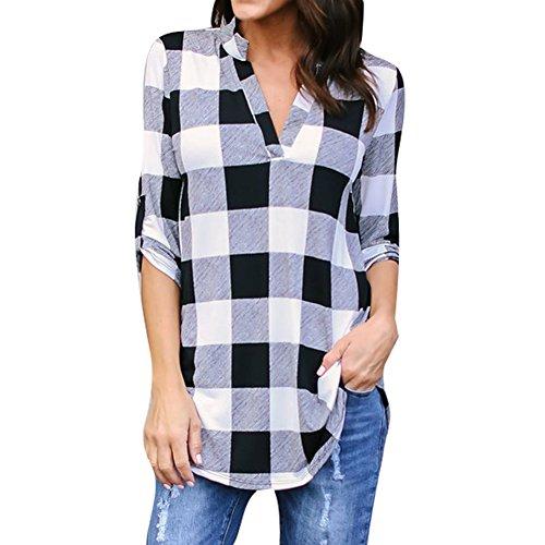 Hibote Damen Bluse Kariertes Hemd Frauen Shirt V Ausschnitt Langarm Tops Damenblusen Casual Loose Fit Oberteil Plaid Checker Shirt Weich Bequem (Plaid Nur Shorts)