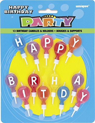 """Unique Party 71191 - Candele con Lettere Rotonde """"Happy Birthday"""" e Supporto, Set di 13, Colori Assortiti"""