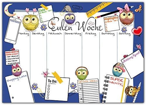 e EULEN WOCHE zum Abreißen aus Papier - DIN A3 Schreibunterlage mit Wochenplaner, Tages-Plan, To-Do Liste, Shopping-Liste - 25 Blatt Abreißblock für Kinder und Erwachsene in Blau ()