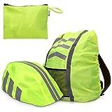 kwmobile Regenschutz Set für Helm Rucksack - Helmüberzug Regenhülle Schulranzen Helmschutz - Schutzhülle Fahrradhelm Ranzen - unisex in Neon Gelb