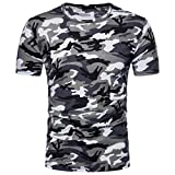 Camiseta Hombre,Longra  Camiseta de Camuflaje Hombre Militares Camisetas Deporte Ropa Deportiva Camisa de Manga Corta de Camuflaje Slim Fit Casual Para Hombres Tops Blusa (Gris, L)
