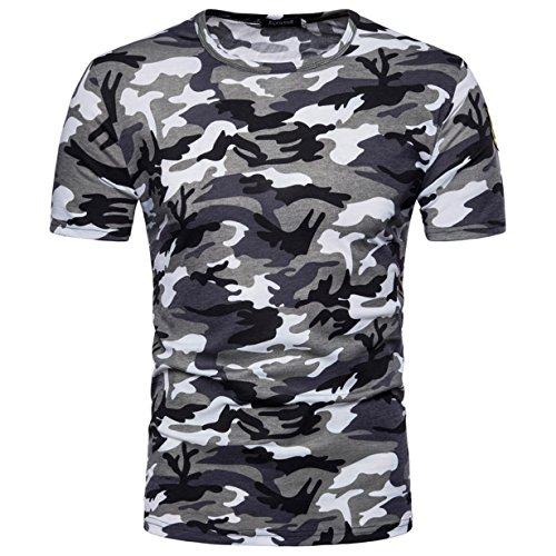 Camiseta Hombre,Longra ★ Camiseta de Camuflaje Hombre Militares Camisetas Deporte Ropa Deportiva Camisa de Manga Corta de Camuflaje Slim Fit Casual Para Hombres Tops Blusa (Gris, L)