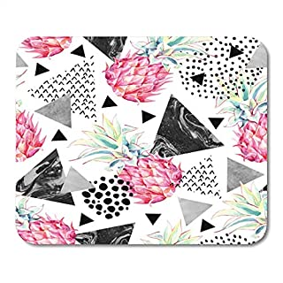 J5E7JYTE Mouse Pads Green Watercolour Spring Garden Grass Herb and Flowers with Butterflies Vintage Watercolor Retro Wild Mouse Pad 9.5