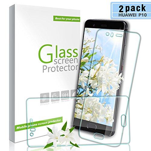 Aonsen Huawei P10 Panzerglas Schutzfolie, [2 Stück] 3D Full Coverage HD Ultra Klar Abdeckung Gehärtetem Glas, Anti-Fingerabdruck, 9H Härte Panzerglasfolie für Huawei P10 - Transparent