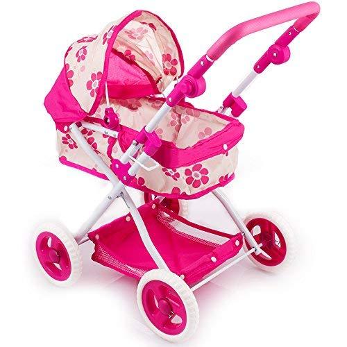 DOMINITI Puppenwagen mit Flüsterreifen, Kinderwagen für Puppen, Spielzeug für Kleinkinder, 55 x 37 x 66 cm, Puppenbuggy Puppenspielzeug Puppe, Sonnenverdeck Baby in pink