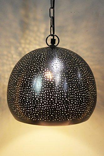 Orientalische Lampe Pendelleuchte Silber Asifa 27cm E27 Lampenfassung | Marokkanische Design Hängeleuchte Leuchte aus Indien | Orient Lampen für Wohnzimmer, Küche oder Hängend über den Esstisch