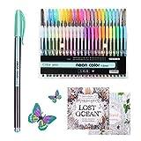 Stylos à encre gel pour des livres de coloriage pour adulte, 48 coloriage stylos à encre gel Lot inclus 12 Stylos à paillettes, 12 Néon stylos marqueurs à craie, eau de 12