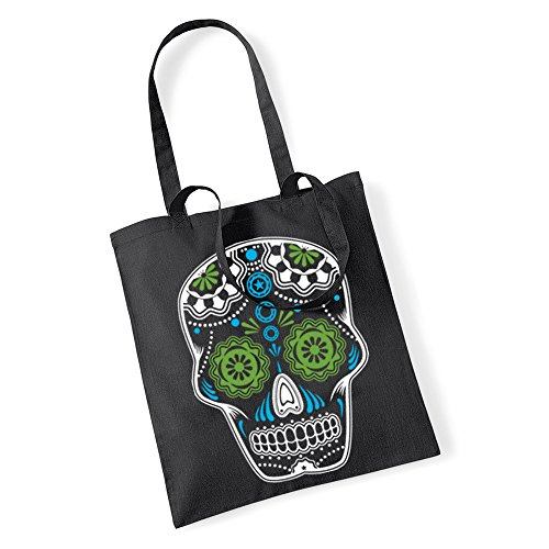 Sugar Skull Tote Shopping Bag Twin Handles Candy Day for sale  Delivered anywhere in Ireland