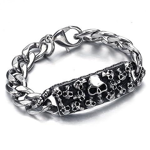 mendino Bijoux Rectangulaire Multi crâne Bracelet en chaîne en acier inoxydable avec un sac en velours