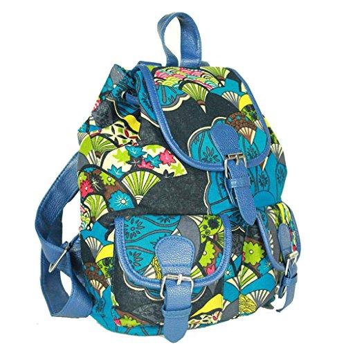 Sammua Retro Flower Floral Rucksack Mädchen Segeltuch Schulter Beutel Schule Bookbag mit Kordelzug Lederschnallen Lässige Daypack - Schwarz Blau