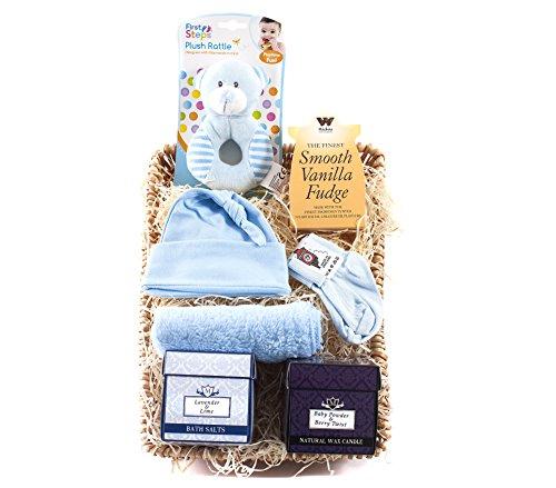 wickers Mutter & Baby-Geschenkkorb–Boy | wickers Geschenk Körbe (Blau Wicker)