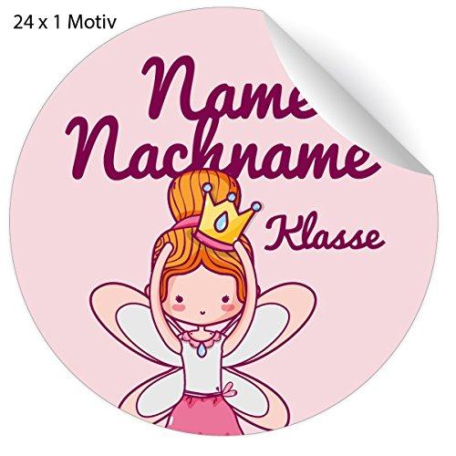 24 süße Custom Prinzessinen Namens Aufkleber mit Zauber Fee und ihrem Adress Text nach Wunsch, universal Etiketten für Kindergarten, Schule, Deko, Einschulung (4,5cm)
