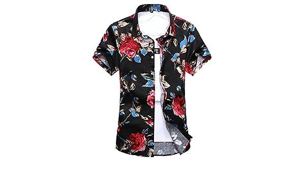 f2e2cb30d995d YuanDian Men Summer Casual Retro Floral Printed Beach Shirts Plus Size Slim  Fit Short Sleeve Hawaiian Tropical Aloha Funky Button Stretch Soft Shirts  ...