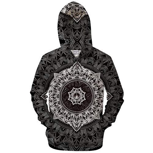 QMKJ Mens Zip Up Hoodies Breathable Black White Sunflower 3D Prints Pullover with Pockets Slim Fit Sweatshirts Jacket Couple Hoodies Unisex Look,XXXL