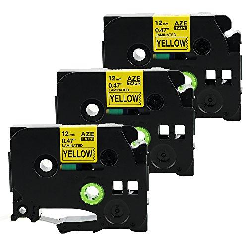 coLorty 3PK TZe-631 Schriftband Laminiertes Band Schwarz auf Gelb 12mm x 8m Geeignet für Brother P Touch 1000W 1010 1090 1830VP 2030VP 2100VP 2430PC 2470 2730VP 7100 VP7600VP H100R H300 D200VP und Andere P-Touch Geräte (2 Jahre Garantie)