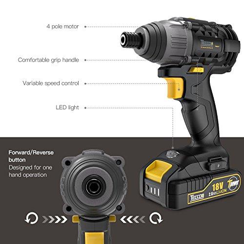 Atornillador de Impacto TECCPO 180Nm Pistola de Impacto 18V Velocidad Máxima de 2900 RPM 2 Batería de 2.0Ah Cargador Rápido de Media Hora y 6.35mm Portabrocas Rápido TDID01P