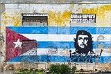 Posterlounge Alu Dibond 30 x 20 cm: Che Guevara with Cuban flag di Novarc/Mauritius Images