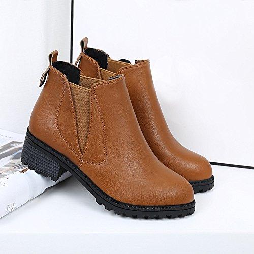 Longra Stivali inverno delle nuove donne della caviglia Marrone