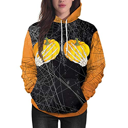VEMOW Heißer Halloween Party Frauen Fashion Casual Solid Langarm Sweatershirt Strass O-Ausschnitt T-Shirt Top Bluse Pullover(Schwarz, EU-42/CN-L)