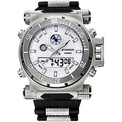 BOAMIGO Luminous Mens Watch with Rotating Bezel and Alarm Quartz Digital 50M Waterproof (Silver White)