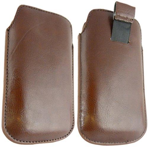 ONX3 Samsung I9020 Google Nexus Brown Leather Pull Tab Schutztasche Case + LCD-Display Schutzfolie