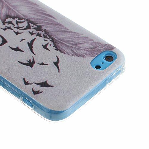 Voguecase® Per Apple iPhone 5C Custodia Case Cover fit ultra sottile Silicone Morbido Flessibile TPU Custodia Protettivo Skin Caso (piuma viola) Con Stilo Penna piuma viola