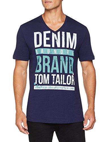 TOM TAILOR Denim Herren T-Shirt V-Ausschnitt T-Shirt mit Druck und Tom Tailor Slogan, Blau (Sailor Blue 10932), Large (Herstellergröße: Large) - Jersey Double V-neck