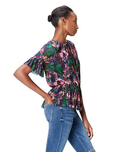 FIND Women's Floral Pleated Chiffon Peplum Blouse