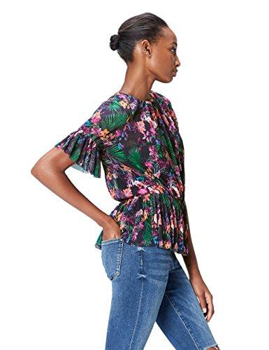 FIND Bluse Damen mit Plissee-Falten, Rüschen, Schößchen und Tropen-Muster, Mehrfarbig (Multicoloured), 36 (Herstellergröße: Small)